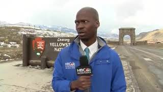 Bison reporter reacts to sneeze during pandemic