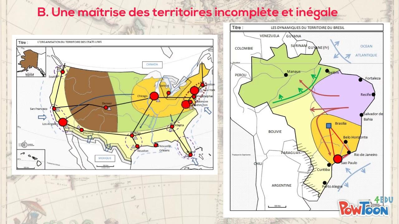 Carte Amerique Puissance Du Nord Affirmation Du Sud.Les Dynamiques Territoriales Des Etats Unis Et Du Bresil