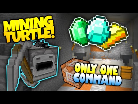 Minecraft | MINING TURTLE! | Digs Caves & Saves Items | Only One Command (Minecraft Redstone)