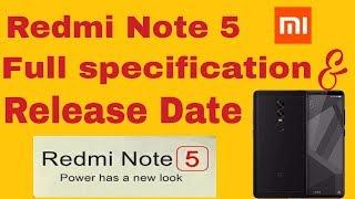 Xiaomi Redmi Note 5 full specification    Release Date  [Hindi]