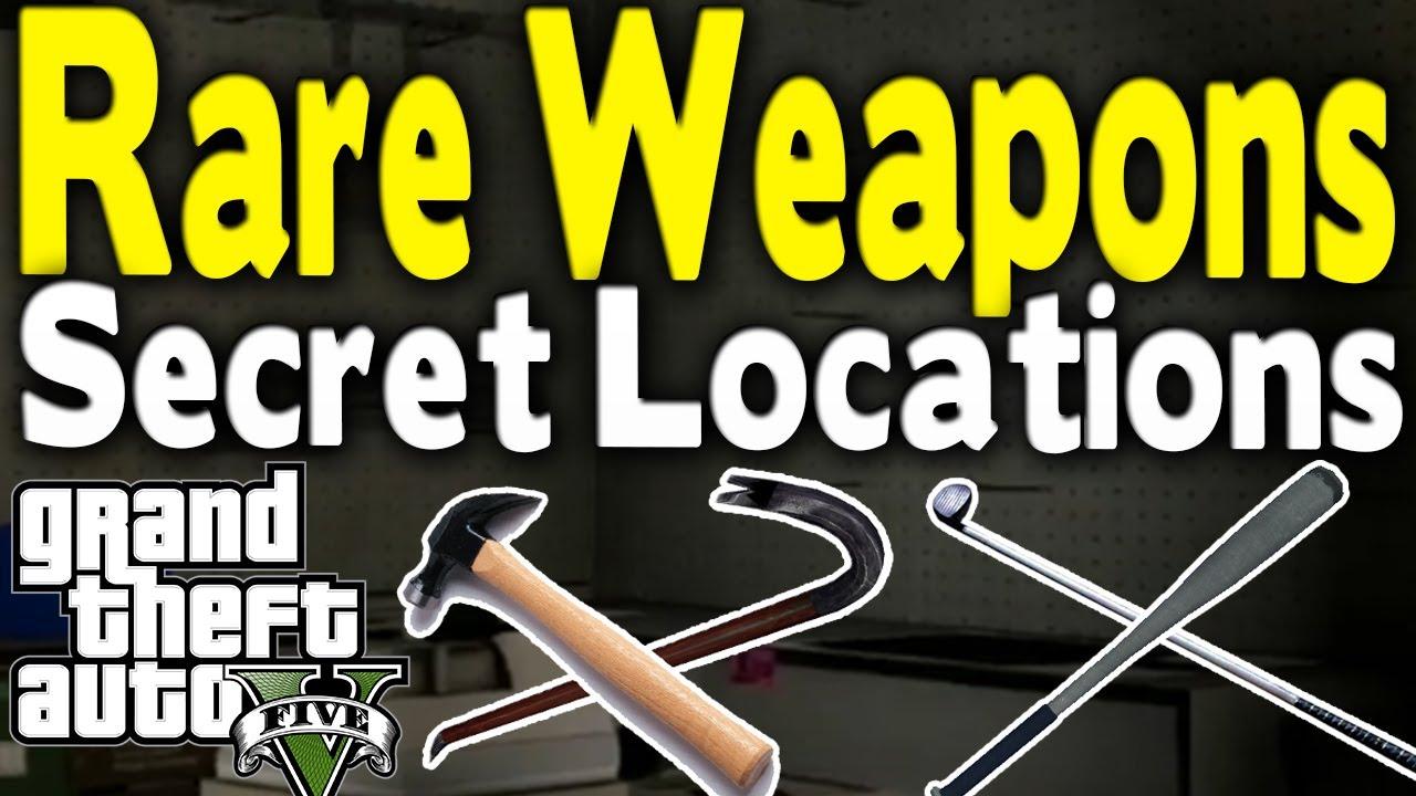 Gta  All Secret Rare Melee Weapon Locations Bat Golf Club Hammer Crowbar Gta V Youtube