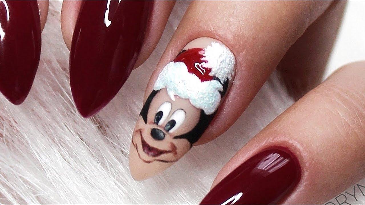 Mickey Mouse Christmas Nail Design Nail Art świąteczne Zimowe