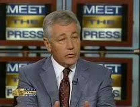 Chuck Hagel on Meet the Press Iraq, Scooter Libby, President