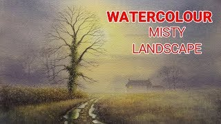 How To Paint a Watercolour Colour Landscape, Winter Sunset, Trees, Grass, and Mist