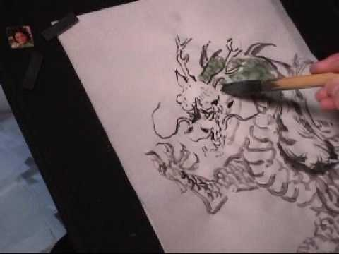 How to draw or how to paint dragon in chinese painting for Pictures to draw on canvas