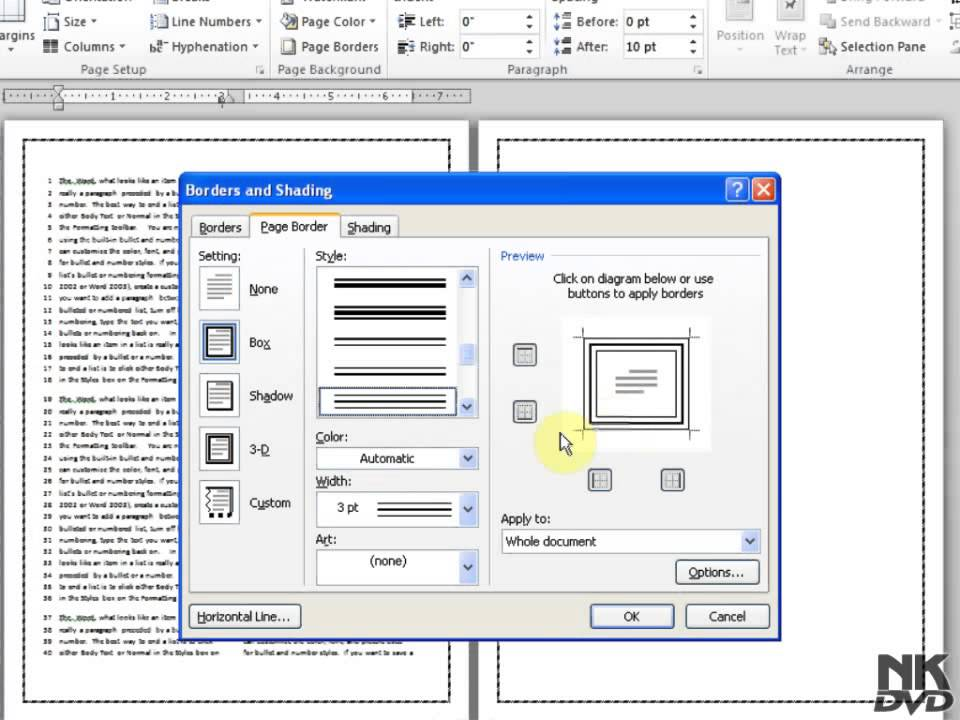 Lesson 77 Page Borders Microsoft Office Word 2007 2010 ...