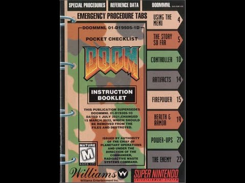 doom 1993 video game game manual snes instruction booklet rh youtube com ps4 games instruction manuals ps4 games instruction manuals
