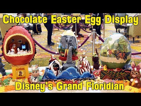 Chocolate Decorated Easter Egg Display at Disney's Grand Floridian Resort 2019 Incl. Coco, Dumbo, Up