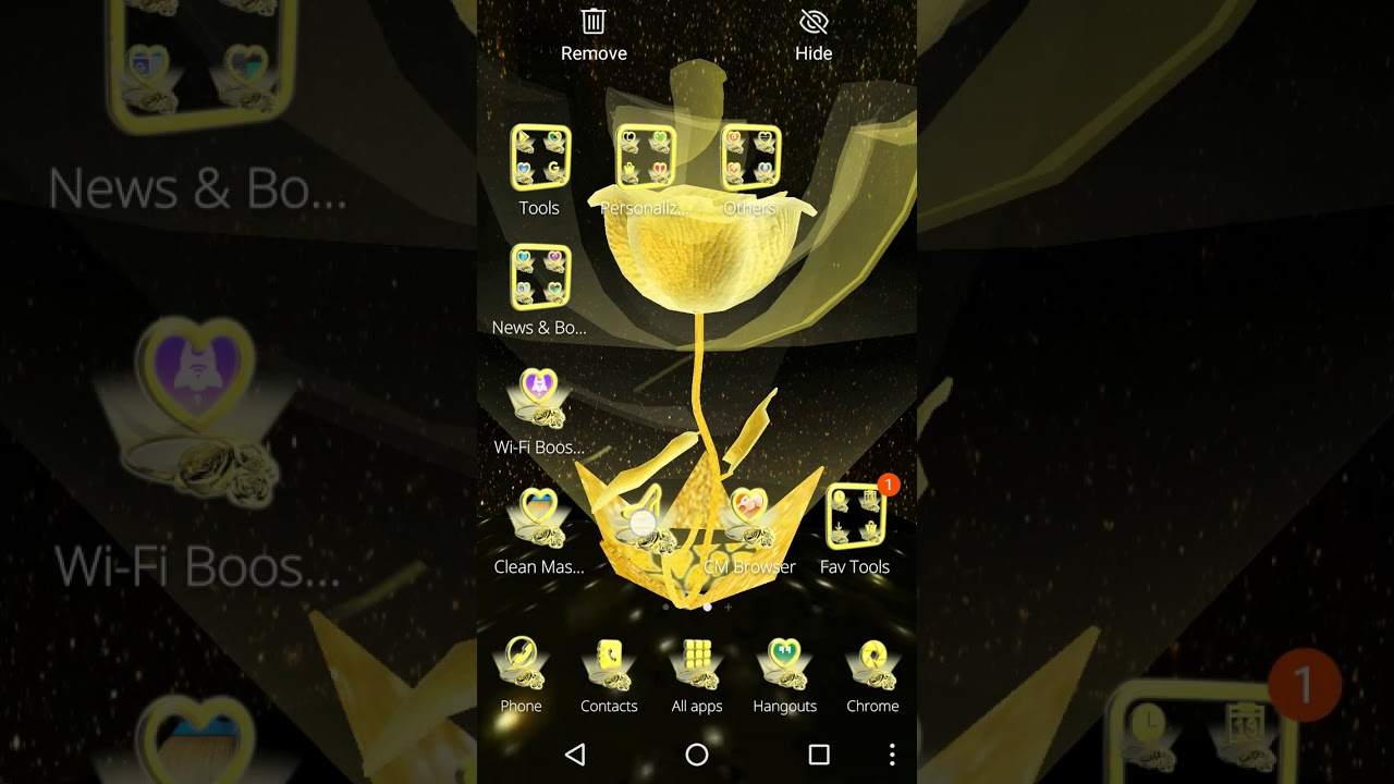 Top Android Custom Themes: 3D Black Gold Rose Theme