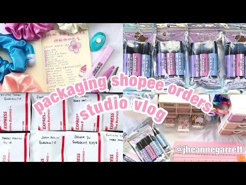 studio vlog:asmr packing shopee orders?(j&t, bundle, liptint, scrunchies, sticker label)philippi