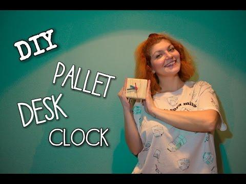 DIY  - PALLET DESK CLOCK (English subtitles) Room Decor Ideas