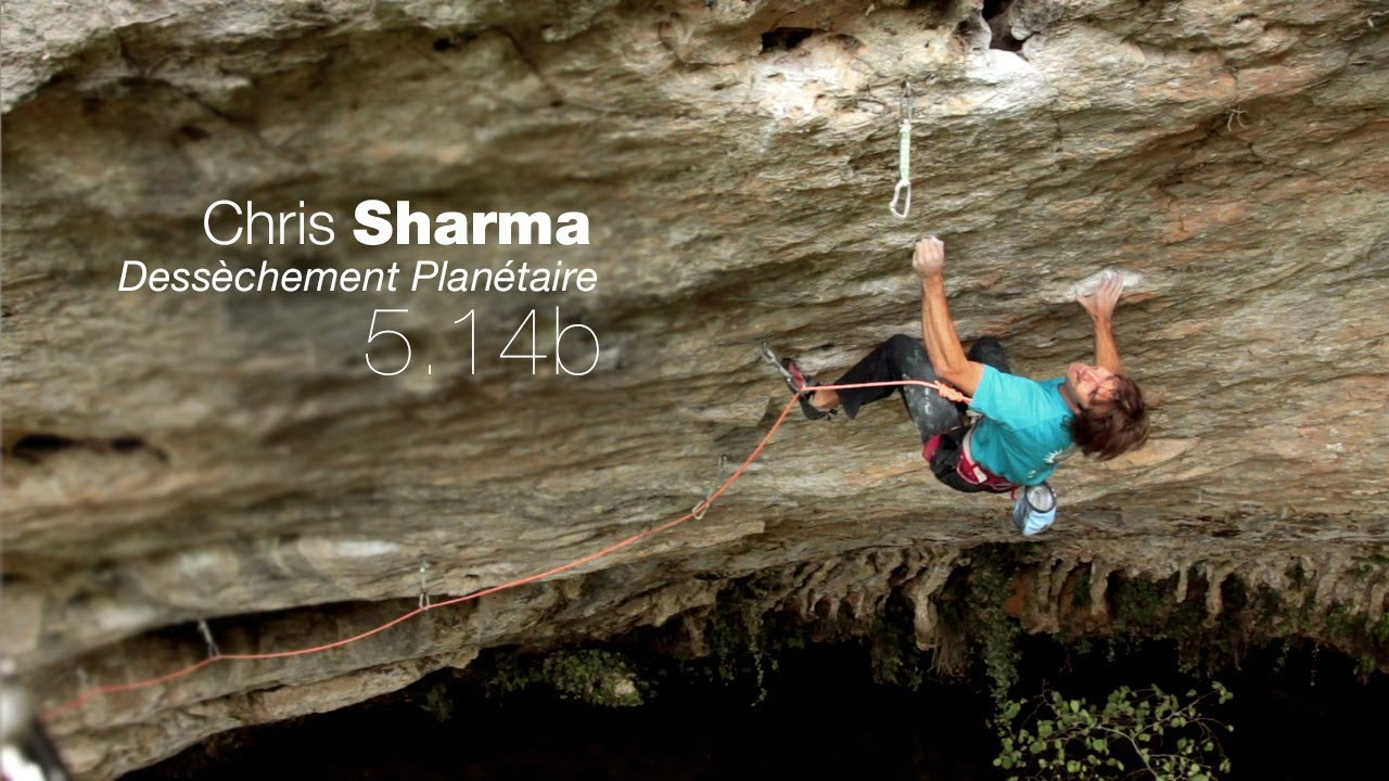"Chris Sharma en ""Dessèchement Planétaire"" \[5.14b / 8c] FA"