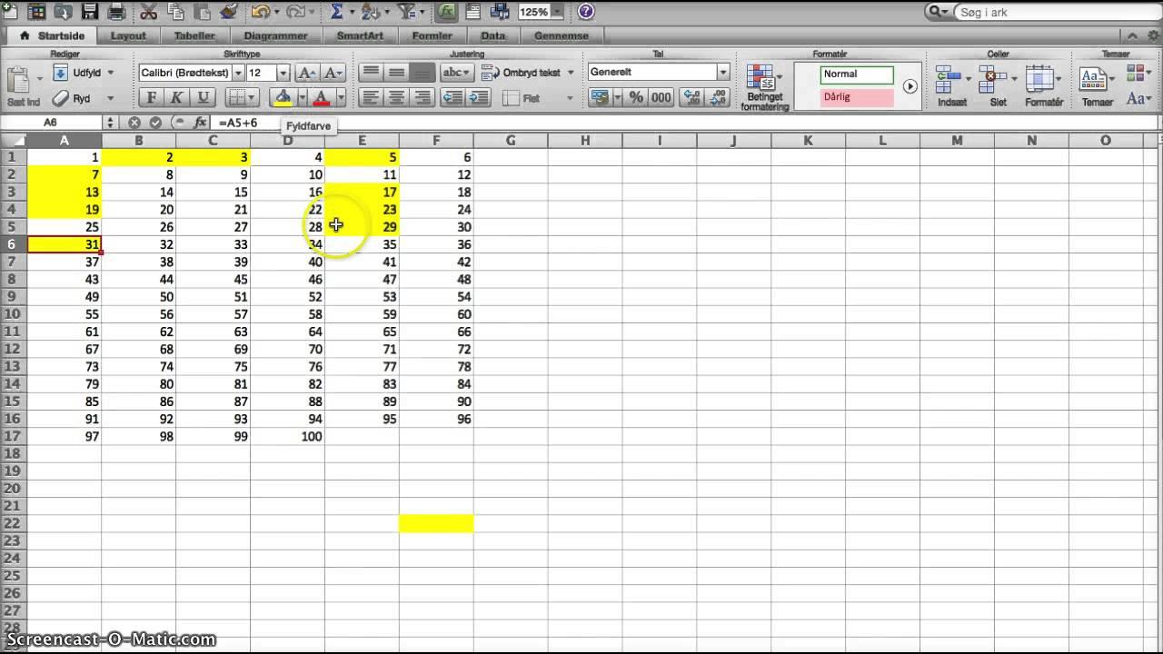 Primtal 20 2000 i Excel