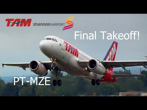 TAM Airbus A319 Final Takeoff from Shannon Airport!