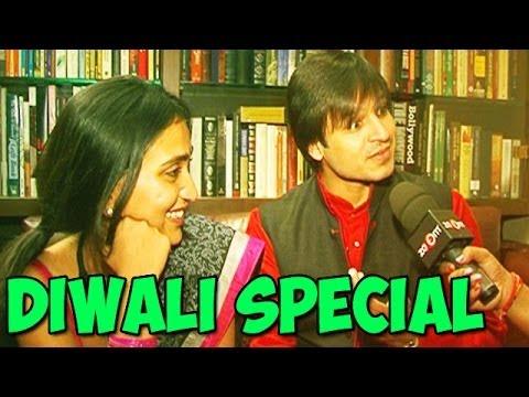 Krrish 3 actor Vivek Oberoi with his wife Priyanka Oberoi lighten up diyas