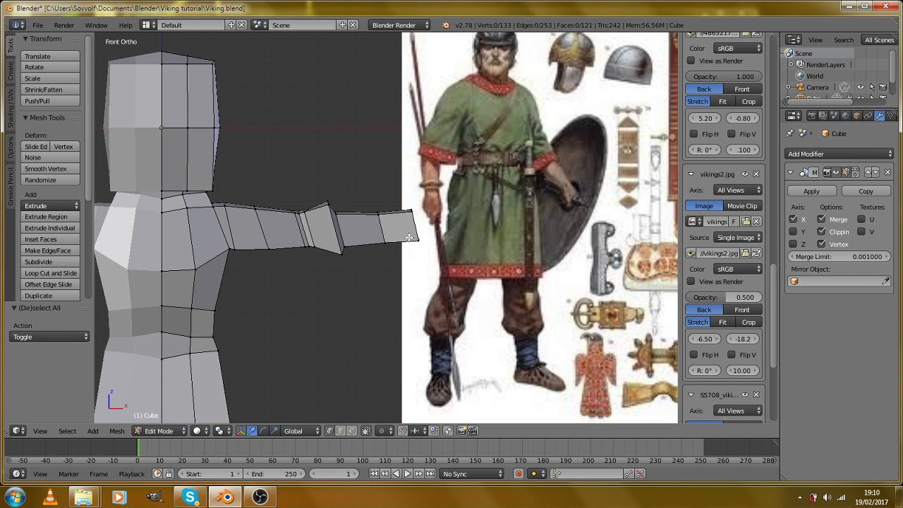 Blender Character Modeling Tutorial Beginner : How to create a viking in blender beginners guide into