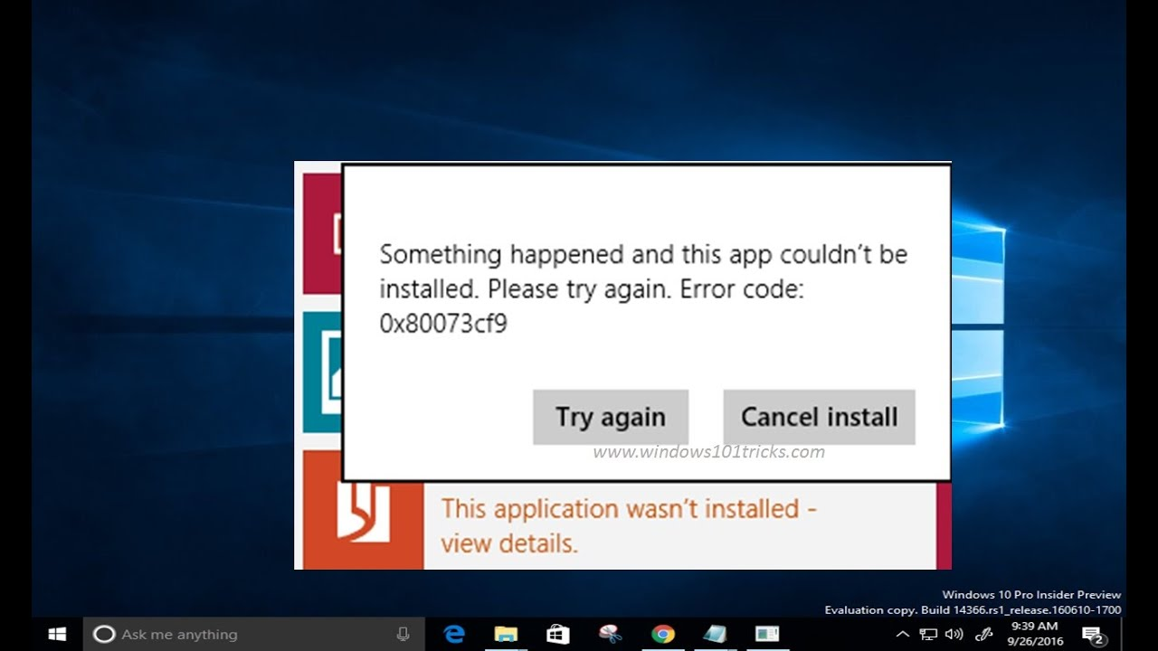 fix error 0x80073cf9 this app couldn't be installed while installing apps  form windows store