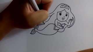 วาดการ์ตูนกันเถอะ สอนวาดการ์ตูน เจ้าหญิงเงือก ง่ายๆ หัดวาดตามได้เลย