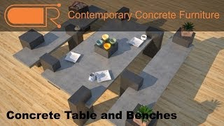 Concrete Table And Benches | Concrete Patio Furniture | Designs By Rudy
