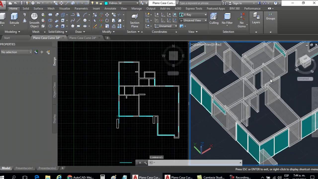 Curso autocad 3d dibujar plano de casa en 3d parte 7 for Programa para dibujar en 3d