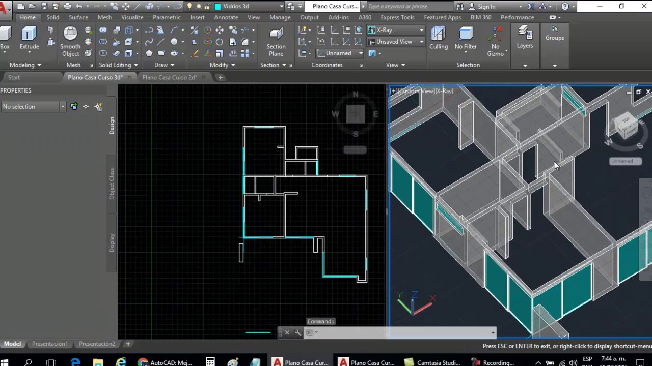Curso autocad 3d dibujar plano de casa en 3d parte 7 - Planos en 3d de casas ...