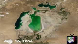 Satellite photos show one of the world's largest lakes disappearing