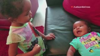 Toddler Tries To Teach Baby To Talk