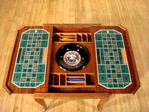 Vintage Burl Mahogany Roulette Chess Backgammon Cards Convertible Game Table  C1970u0027s