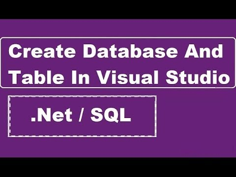 how to create a database table in visual studios
