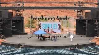 The Piano Guys concert setup Tuacahn Amphitheater