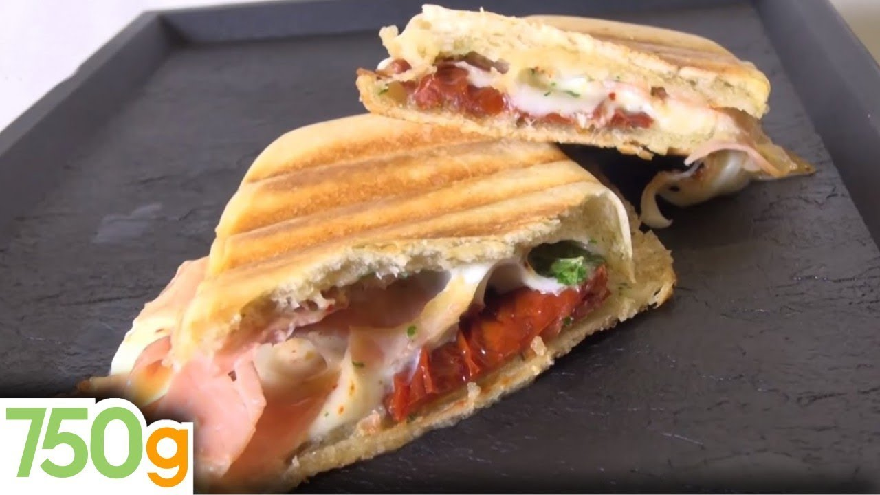 recette de panini jambon tomate mozzarella 750 grammes youtube. Black Bedroom Furniture Sets. Home Design Ideas