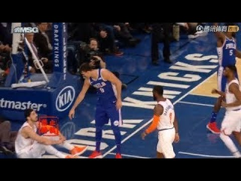 WTF?Enes Kanter Didn't Want The Help Up From Saric After Knocked Down!