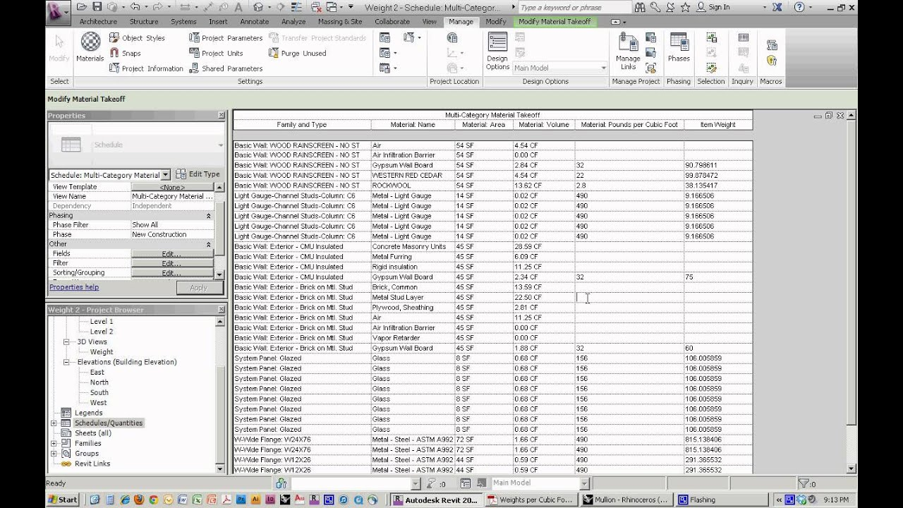 Revit Weight Calculation