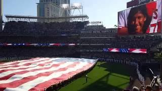 2016 mlb all star game national anthem with thunderbird flyover at petco park