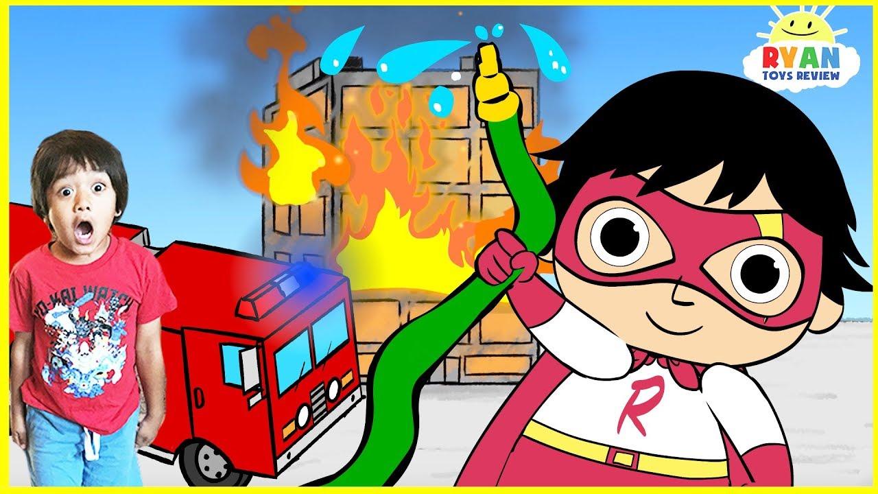 ryan fire fighters cartoon for kids! fire truck emergency
