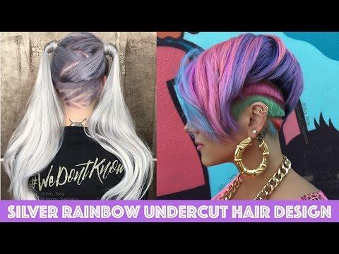 Silver Rainbow Undercut Hair Design