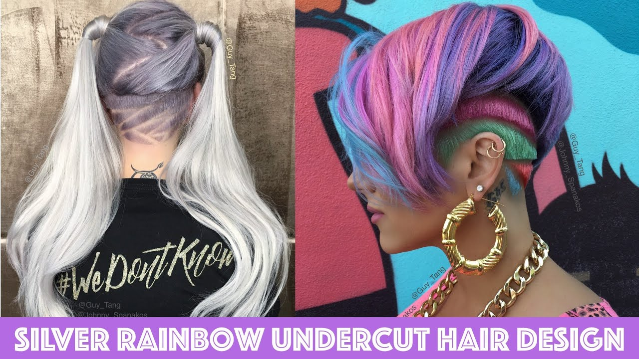 Silver Rainbow Undercut Hair Design Youtube