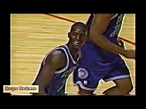 Rookie Kevin Garnett ''I Made It Mom'' Dunk vs MJ & Pippen! 1996