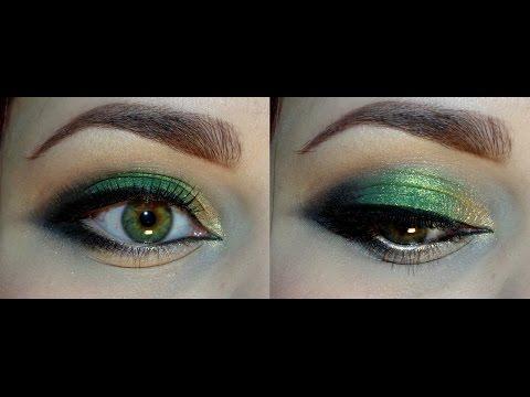 Яркий оранжевый макияж для зелёных глаз