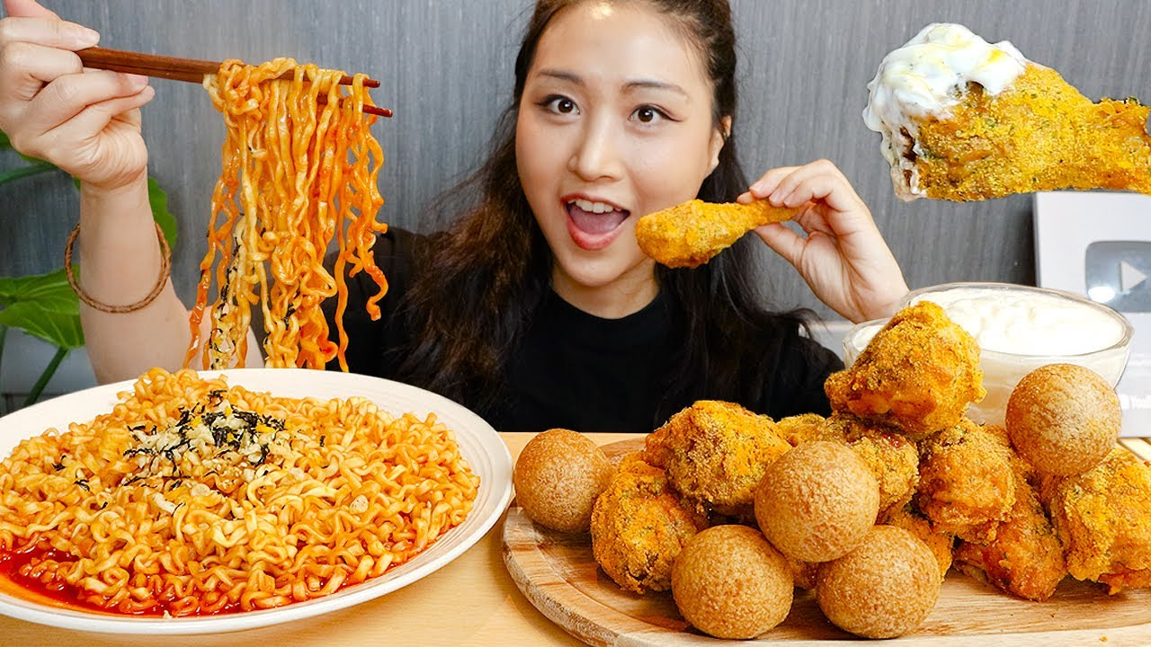 MUKBANG) 뿌링클 닭다리 치즈볼 틈새볶음면 먹방🔥 Korean Bburinkle Chicken, Cheese balls and Fire Noodles ASMR Eating