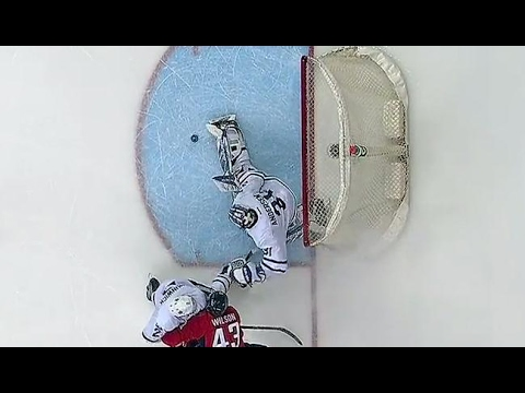 Andersen manages to clear the puck after great toe save