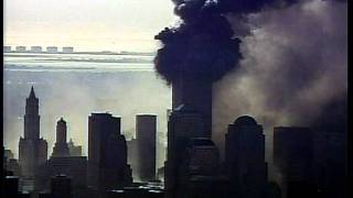 WTC Tower 1 collapse from west, Air11