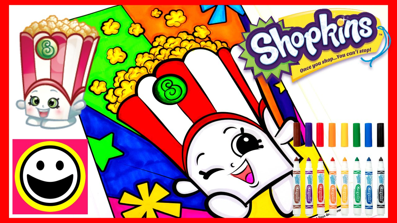 SHOPKINS Coloring Pages - POPPY CORN - Crayola Coloring Book - Color ...