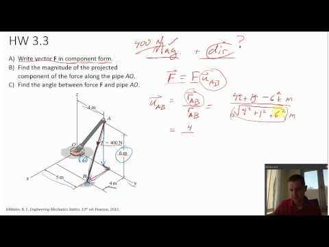 Statics - 3D vector projection - example