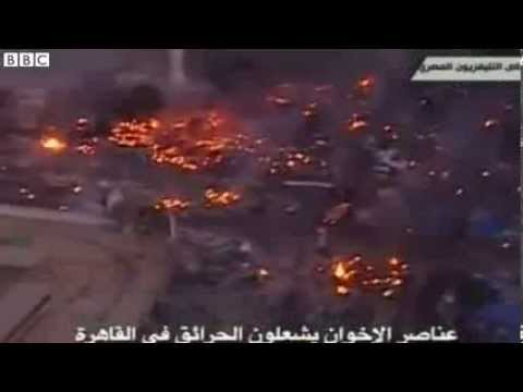 BBC News   Aerial footage shows Cairo burning