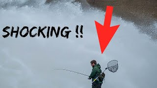 SCARY Raw footage: Fisherman trying to fish at the Dam flood gates (spill way)