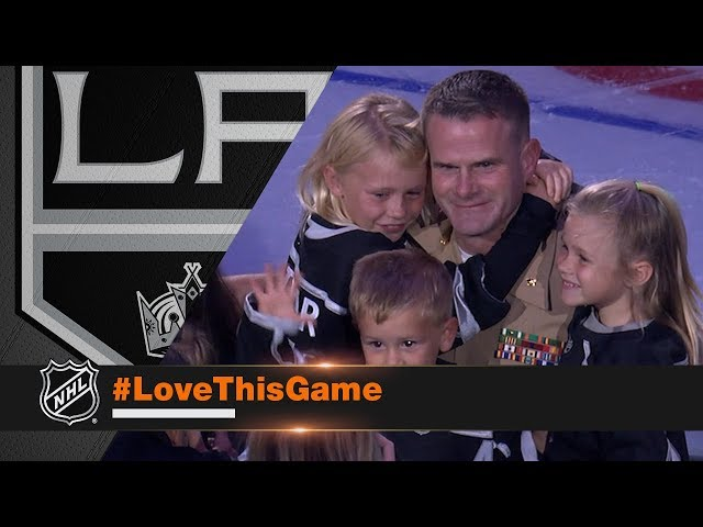 Marine surprises his family at Kings' opener