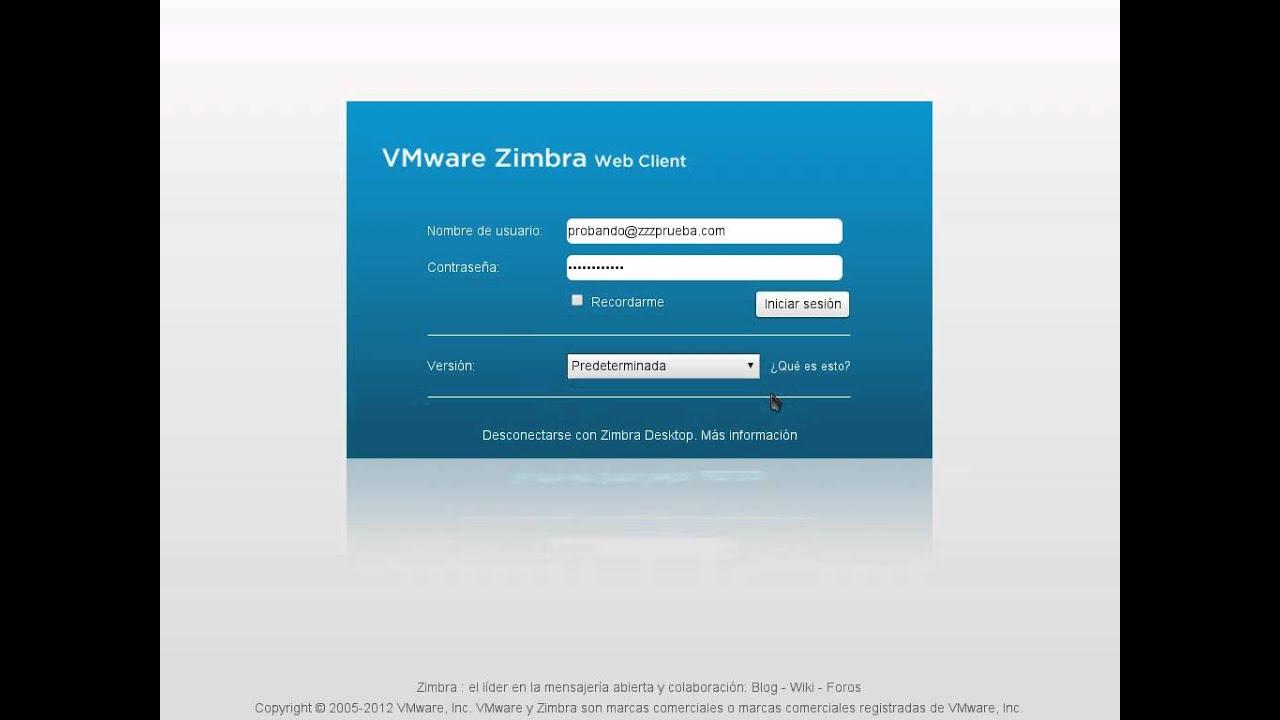 Tutorial - Zimbra - Hacer login