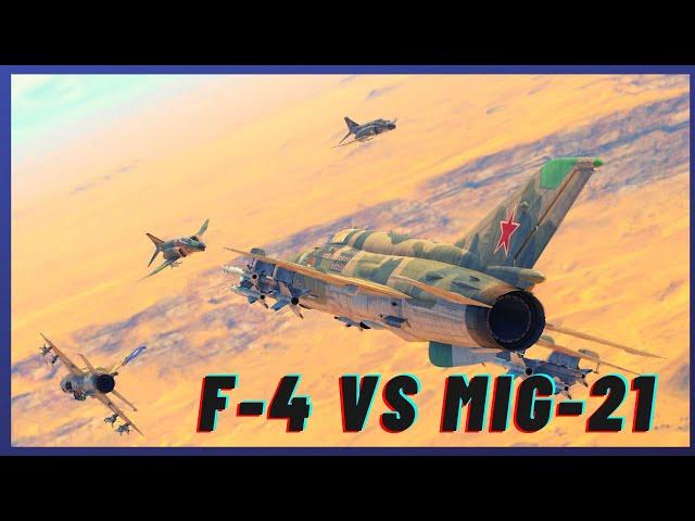 War Thunder SIM F-4 vs MIG-21 4v4!!! Standard quality (480p)