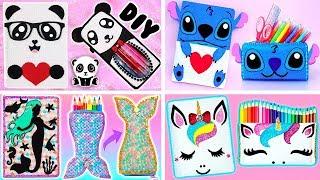 8 DIYS: Unicorn, Stitch, Mermaid and Panda SCHOOL SUPPLIES (Notebook and Pencil Case) thumbnail